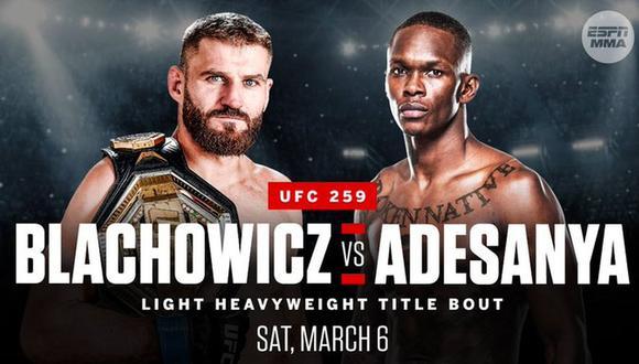 UFC 259: Blachowicz vs. Adesanya se enfrentan por el título semicompleto en el Apex de Las Vegas. (Foto: UFC)