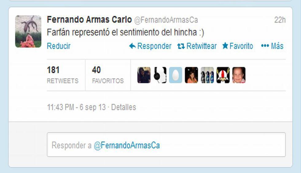 El comediante Fernando Armas también respaldó las lágrimas de Farfán, diciendo que se trataba del sentimiento nacional. (@FernandoArmasCa)