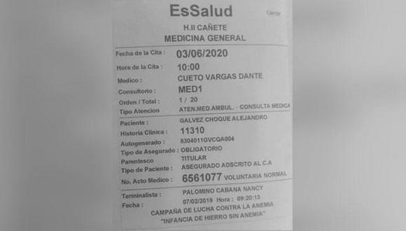 EsSalud se pronuncia tras polémica por la difusión de una imagen respecto a una cita programada a un asegurado para el 2020 en el área de Medicina General. (Foto: Facebook)