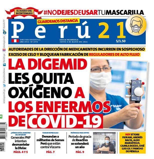 La Digemid les quita oxígeno a los enfermos de COVID-19. (Impresa 4/03/2021)