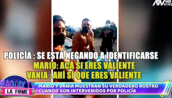 Mario Irivarren y Vania Bludau mostraron una actitud prepotente frente a intervención de la policía. (Foto: Captura de video)