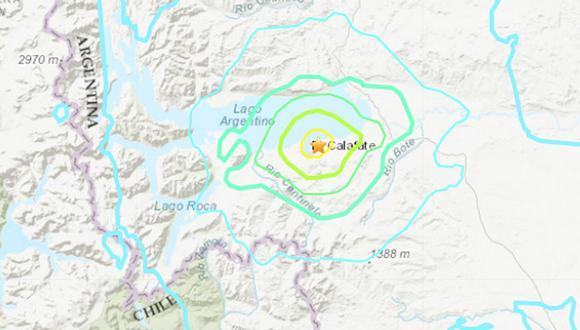 El epicentro se registró a 4 kilómetros al noreste de la localidad de El Calafate; a 256 kilómetros al noroeste de la capital de Santa Cruz, Río Gallegos. (Foto: USGS)