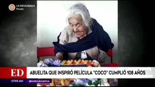 'Mamá Coco' celebró su cumpleaños 108 con un pastel de su personaje en la película