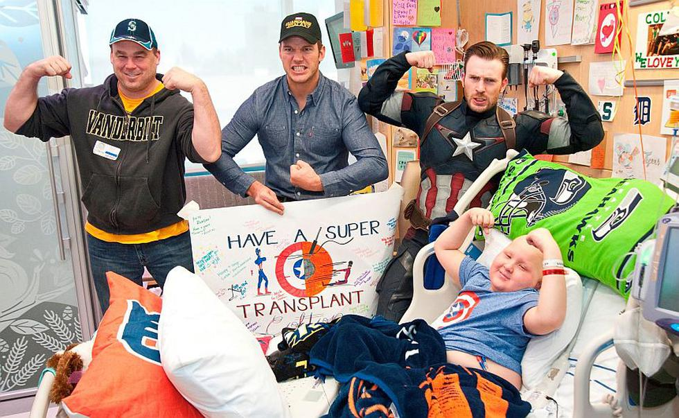 Capitán América visitó a niños en hospital de Seattle junto a Chris Pratt. (Seattle Children's Hospital)