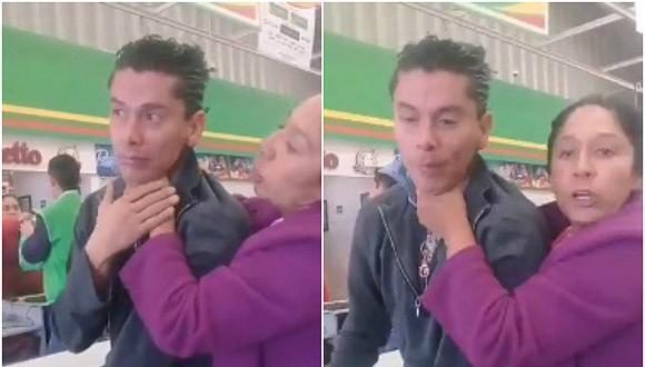 En el video publicado en redes sociales, el sujeto agarrado por el cuello confesó a la madre que le gusta tomar fotografías de jóvenes. (Foto: Captura)