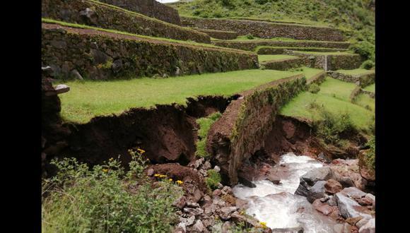 Intensas lluvias provocan el colapso de parte de andenería inca de parque arqueológico de Pisac, en Cusco (Foto: Juan Sequeiros)