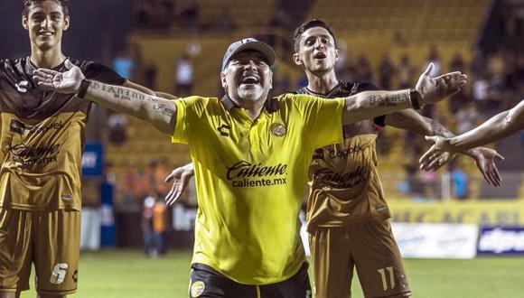 Diego Maradona alcanzó su segundo triunfo con Dorados en el Ascenso mexicano. (Foto: AFP)