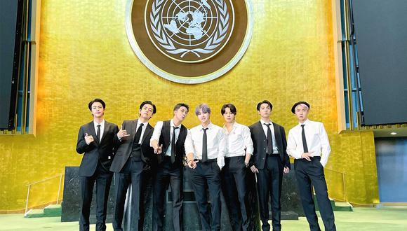 Como parte del 76 periodo de sesiones de la Asamblea General de la ONU, el grupo surcoreano de k-pop BTSse presentó en la sede de Nueva York (Foto: AFP)