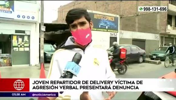 El joven repartidor denunció que fue insultado y discriminado por el sujeto en el distrito de Miraflores.  (Foto: Captura América Televisión)