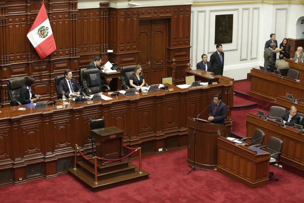 El ministro de Justicia y Derechos Humanos, Vicente Zeballos, respondió las preguntas del pliego interpelatorio ante el pleno del Congreso. (Foto: Anthony Niño De Guzmán / GEC)
