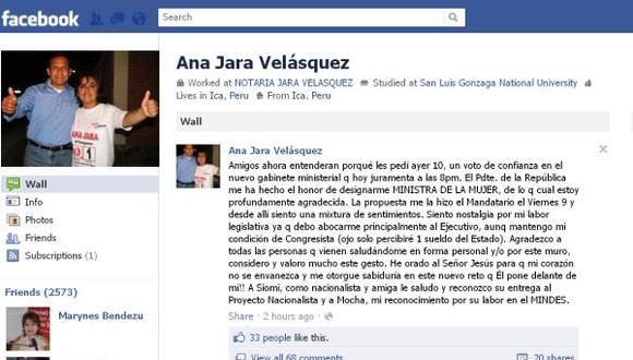 La legisladora anunció que solo percibirá un sueldo del Estado. (Facebook)