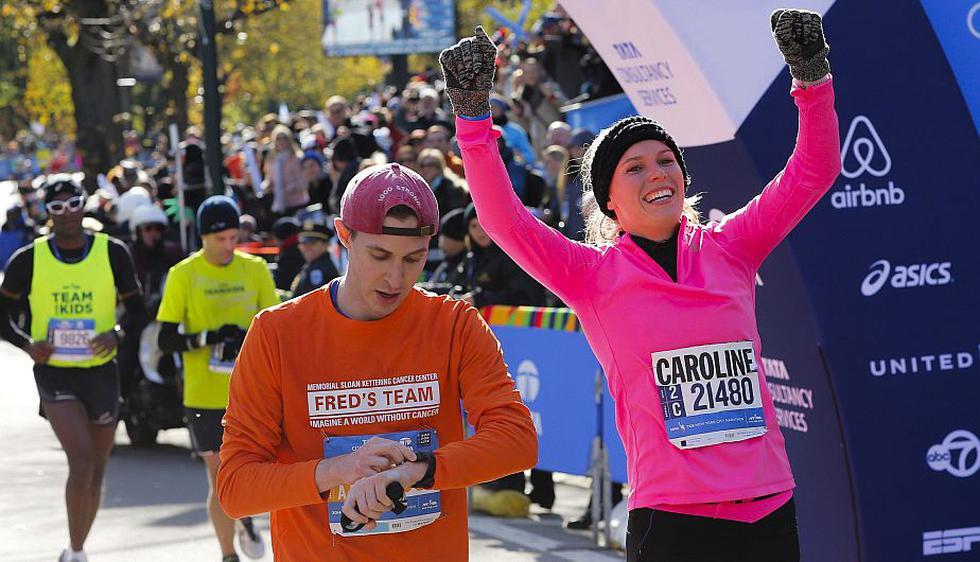 Caroline Wozniacki corrió en la Maratón de Nueva York. (Reuters)