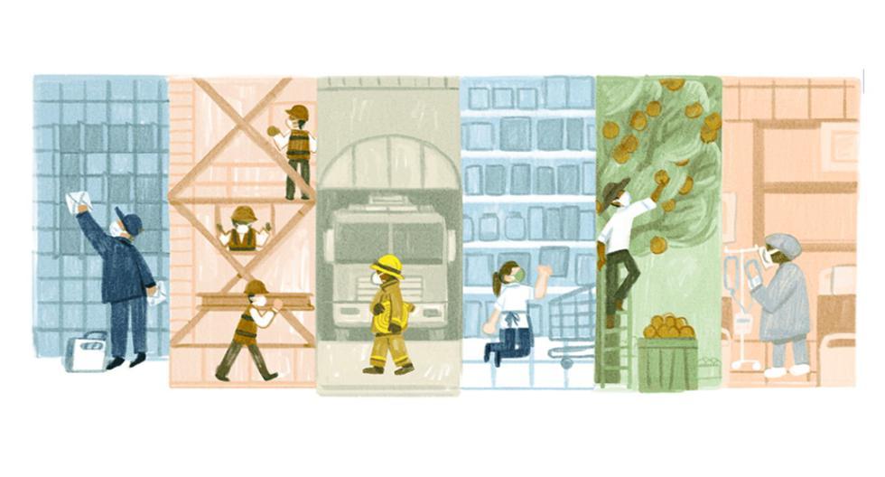 Homenaje de Google al día del trabajador (primero de mayo). (Google/Captura).