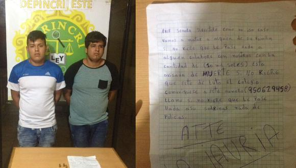 Los capturados llevaban la carta a su víctima.