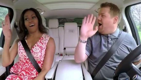 Michelle Obama baila y canta al ritmo de Beyoncé en el karaoke de James Corden. (YouTube/TheLateLateShow)