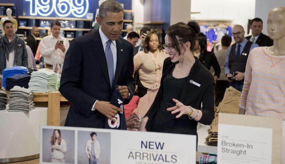 Obama eligió una tienda de la cadena Gap en Manhattan (AFP)