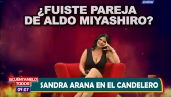 Sandra Arana reveló que tuvo un affaire con Jenko del Río y que sí fue pareja de Aldo Miyashiro. (Créditos: Captura)