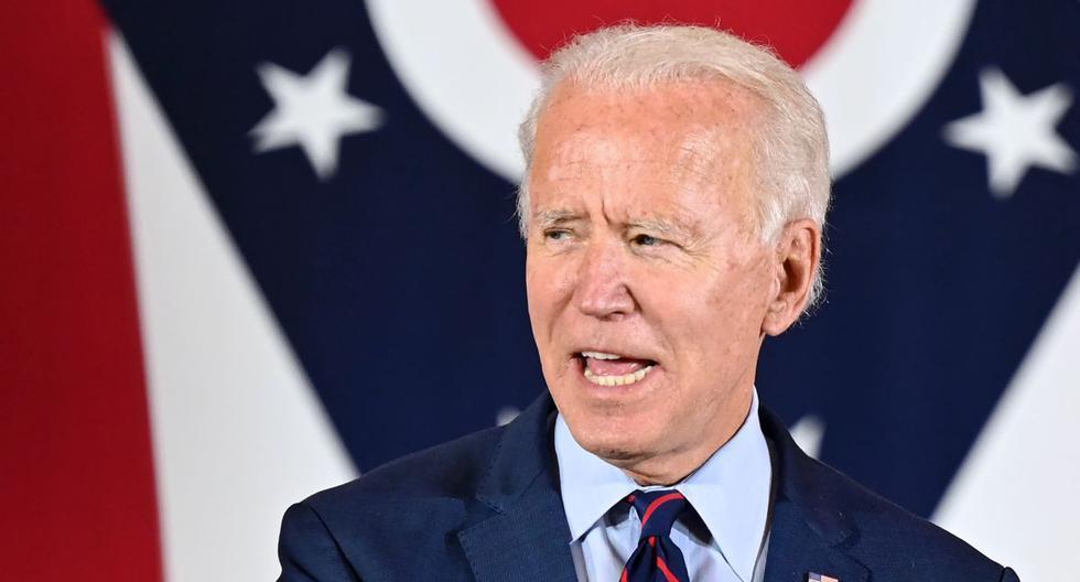El candidato presidencial demócrata y exvicepresidente Joe Biden pronuncia un discurso en un evento en Cincinnati, Ohio, el 12 de octubre de 2020. (Foto de JIM WATSON / AFP).