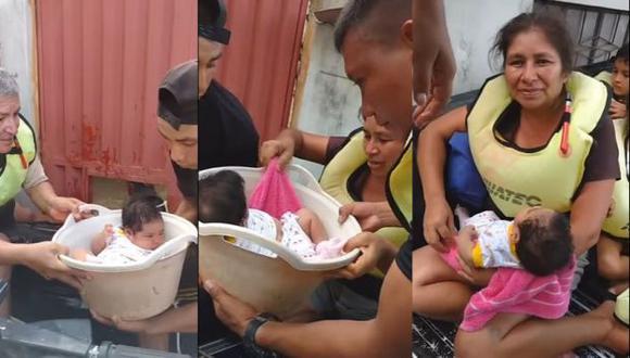 Piura: Rescatan a una bebé en una tina de una casa inundada. (El Comercio)