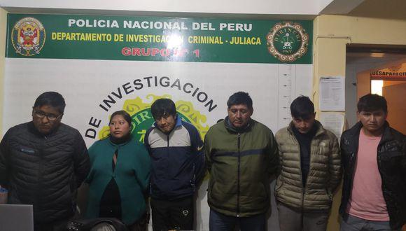 """Puno: Dictan nueve meses de prisión preventiva para """"Los Raqueteros de Juliaca"""" en Puno (Foto: PNP)"""