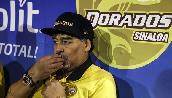 Diego Maradona y su estreno en la temporada 2019 de la Liga de Ascenso MX con el Dorados de Sinaloa será ante el Celaya. (Foto: AFP)