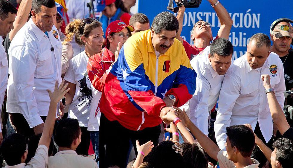 Nicolás Maduro encabezó marcha contra Estados Unidos. (AP)