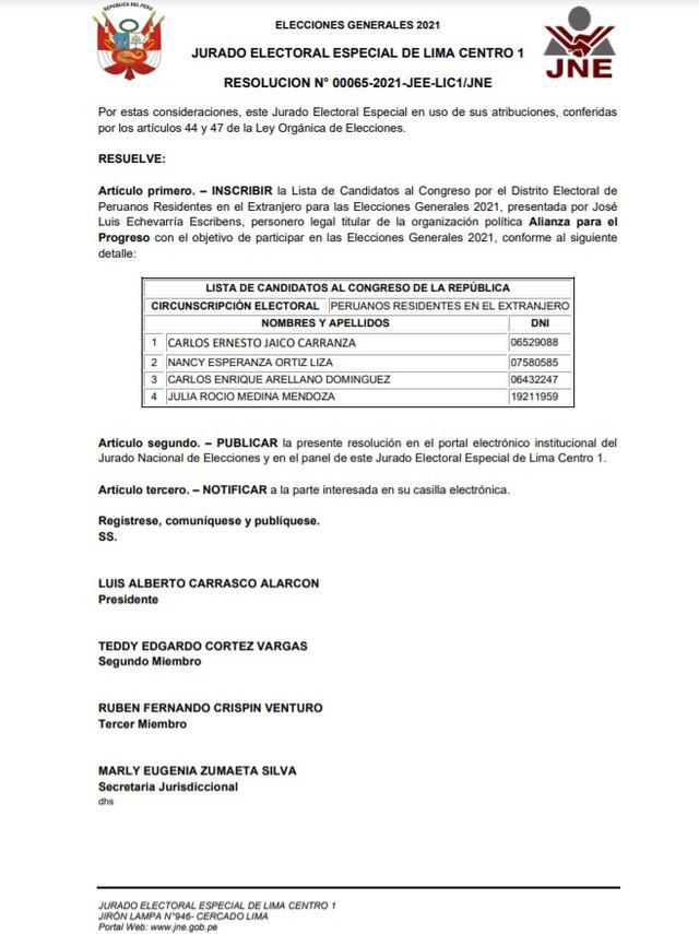 Resolución sobre Alianza para el Progreso. (Foto: JEE Lima Centro 1)
