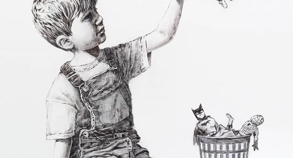 """""""Gracias por todo lo que hacen. Espero que esto iluminará un poco el lugar, aunque sea en blanco y negro"""", escribió el artista en una nota dirigida al personal del establecimiento. (Instagram/Banksy)"""