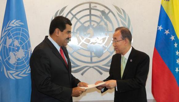 """REUNIÓN """"FRUCTÍFERA"""". Maduro y Ban Ki-moon acordaron una comisión para el conflicto con Guyana. (EFE)"""