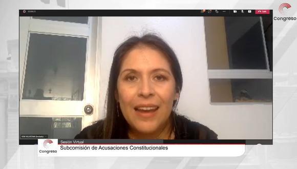 Yeni Vilcatoma se presentó de manera virtual ante la subcomisión para denunciar a Martín Vizcarra. (Congreso TV)