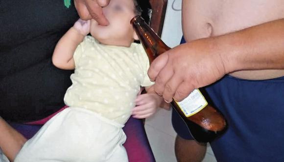 Indignante. Obligaron al pequeño de 5 meses a probar cerveza.
