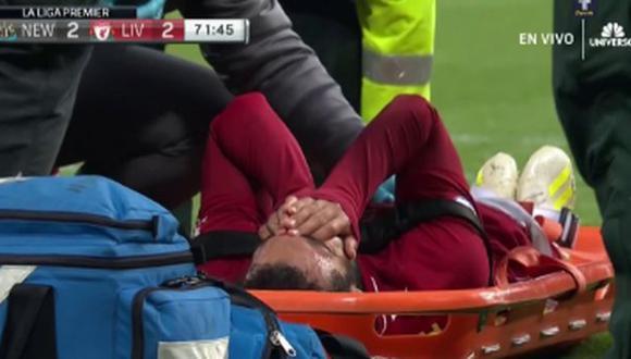 Mohamed Salah tuvo que ser cambiado por una lesión en duelo ante Newcastle. (Captura: ESPN)