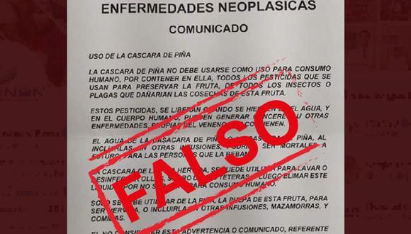 """De acuerdo con el falso comunicado, el cual tenía el logo del Ministerio de Salud (Minsa), """"la cáscara de piña no debe ser de uso para consumo humano, por contener en ella todos los pesticidas que se usan para preservar la fruta. (Foto: Captura del INEN)"""