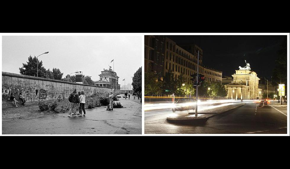 La puerta de Brandenburgo en dos vistas de los años 1989 (con el Muro) y 2011. (Reuters)