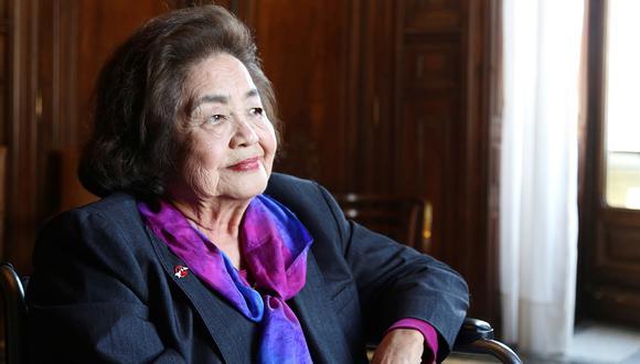 La superviviente a la bomba atómica que Estados Unidos lanzó en Hiroshima, Setsuko Thurlow durante una entrevista con la Agencia Efe. (Foto: EFE)