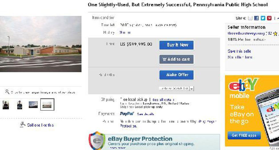 Aviso resalta que la escuela no está muy usada y precio no incluye a alumnos. (eBay)