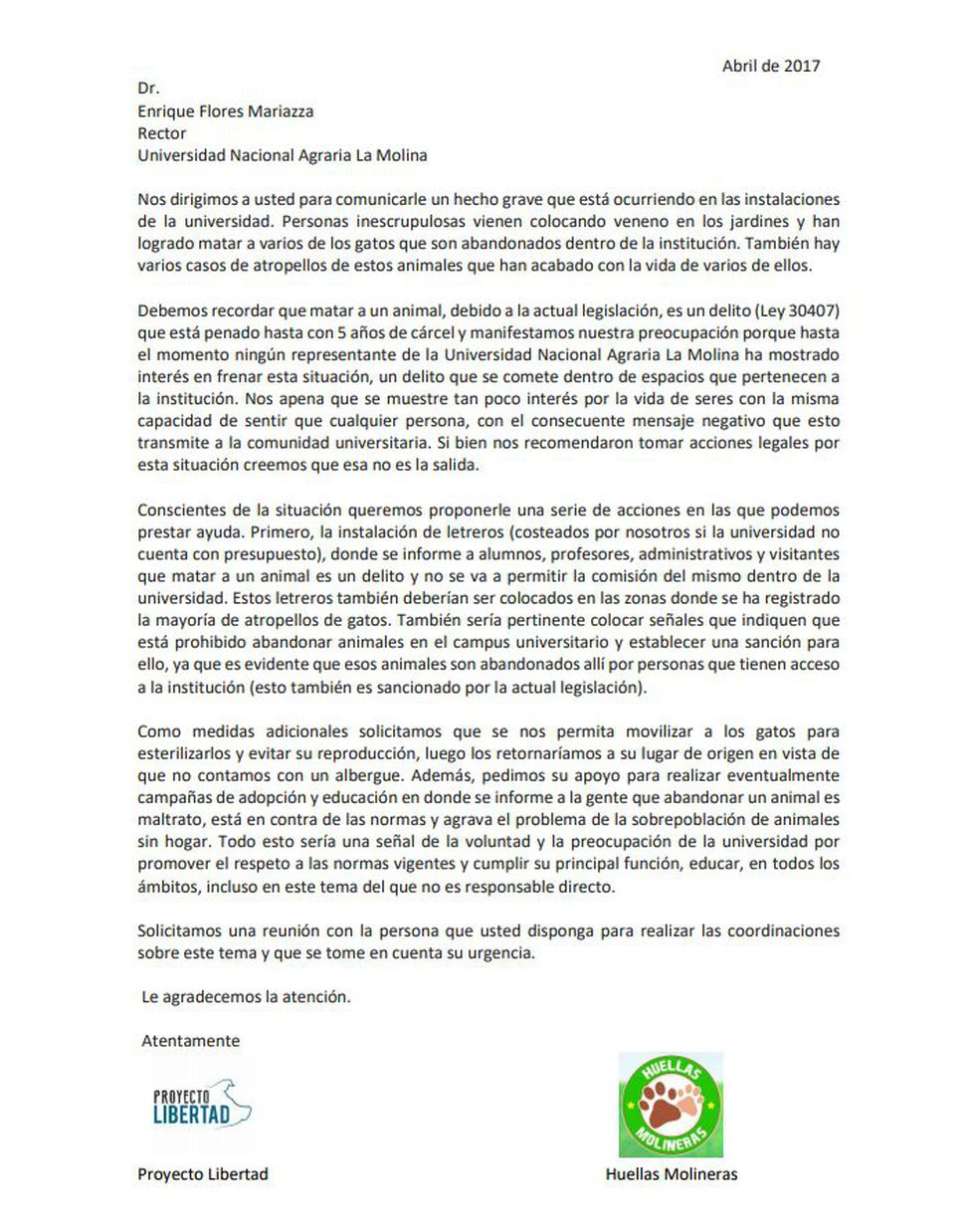 Esta es la carta que el Proyecto Libertad le envió al rector de la Universidad Agraria La Molina en abril de este año.