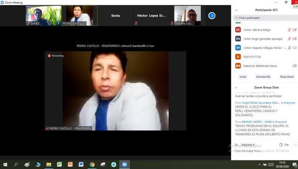 El 20 de junio, Pedro Castillo se reunió de manera virtual con los congresistas Luis Dioses y Lenin Checco.
