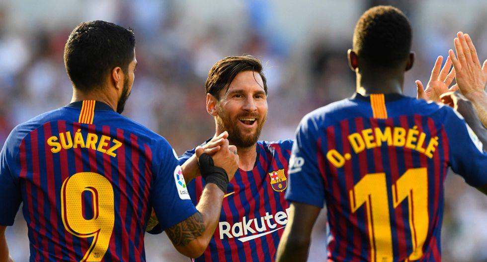 FC Barcelona puede sentirse orgulloso de un nuevo tridente goleador. (AFP)