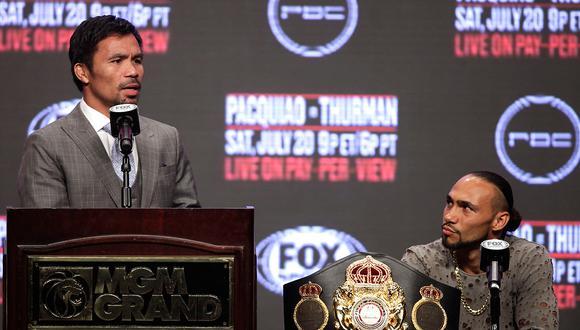 Manny Pacquiao enfrentará a Keith Thurman por la unificación del título wélter de la AMB y WBA. (Foto: AFP)