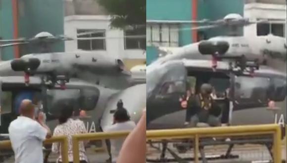 Helicóptero de la Policía aterriza en la avenida Brasil.