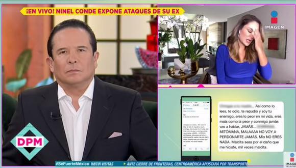 Ninel Conde exhibe mensaje de agresión (Foto: captura)