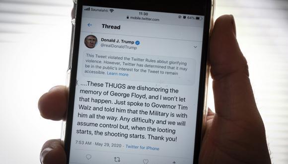 Publicación del presidente de Estados Unidos, Donald Trump, en la red social Twitter. (Olivier MORIN / AFP).