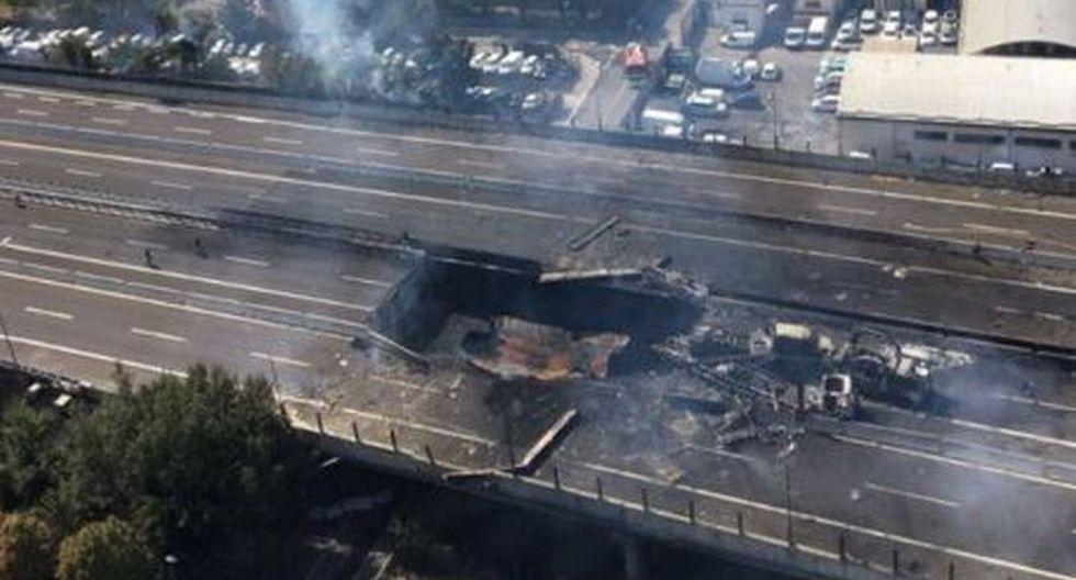 Las imágenes emitidas por los bomberos de Italia mostraban una gigantesca columna de humo negro que salía de los restos de un camión carbonizado, así como numerosos autos quemados al lado de la carretera. (Foto: Twitter/@rudi_de_fanti)