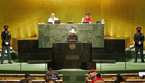 Pedro Castillo durante su discurso ante la 76 Asamblea General de las Naciones Unidas. (Foto: Presidencia)