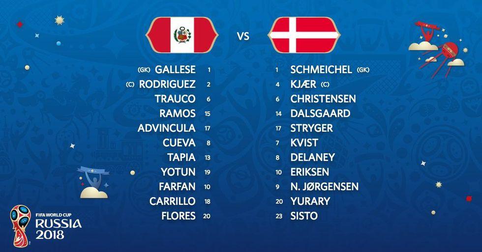 Alineaciones Perú vs. Dinamarca