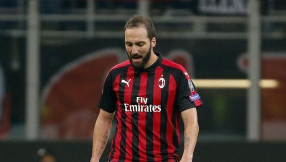Gonzalo Higuaín conforma el ataque del Milan junto a Borini y Castillejo. (Foto: AP)