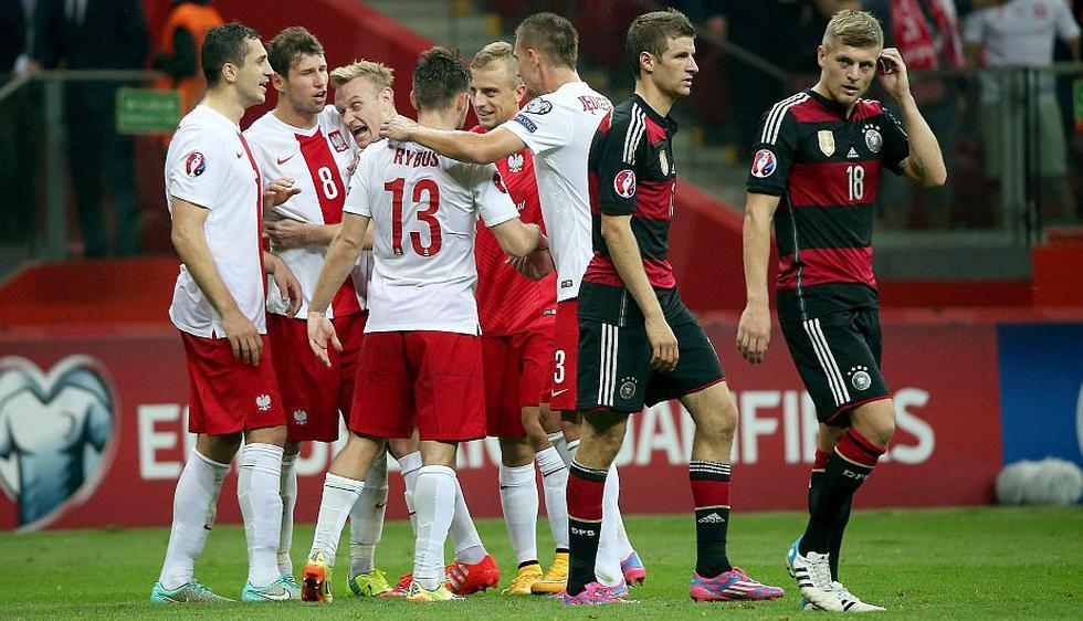 Polonia dio la sorpresa al derrotar por 2-0 a Alemania en la fase previa a la Eurocopa 2016. (EFE)