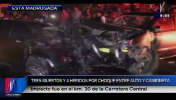 Choque en carretera central dejó 3 muertos. (Captura)