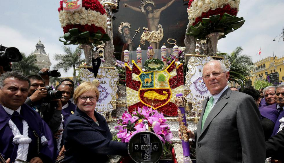 PPK homenajeó al Cristo Moreno. (Presidencia Perú)